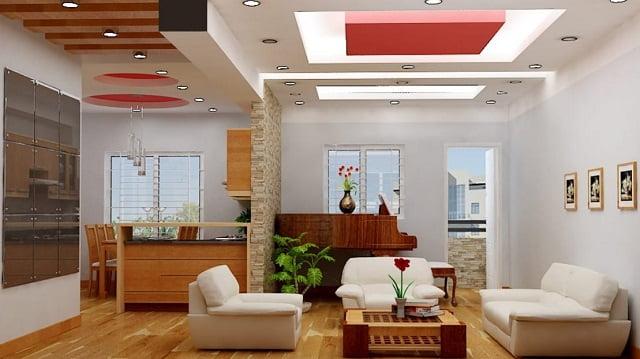 mẫu trần thạch cao phòng khách liền bếp đẹp