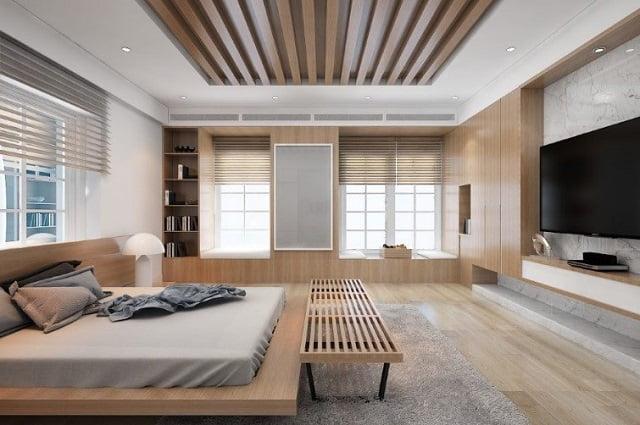 trần thạch cao kết hợp gỗ