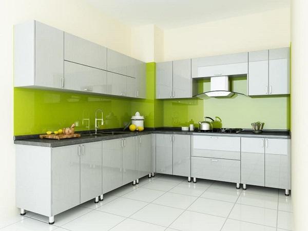 Mẫu Kính Ốp Bếp màu xanh Non