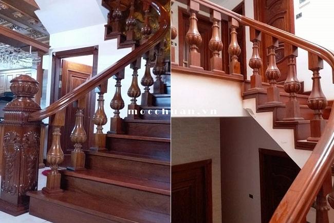 tay vịn cầu thang gỗ